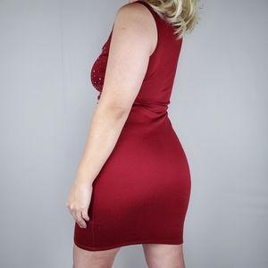 Jewel Dark Wine Red V-neck Mini Dress